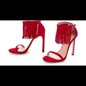 Stuart Weitzman Red Love Fringe Heels, size 7